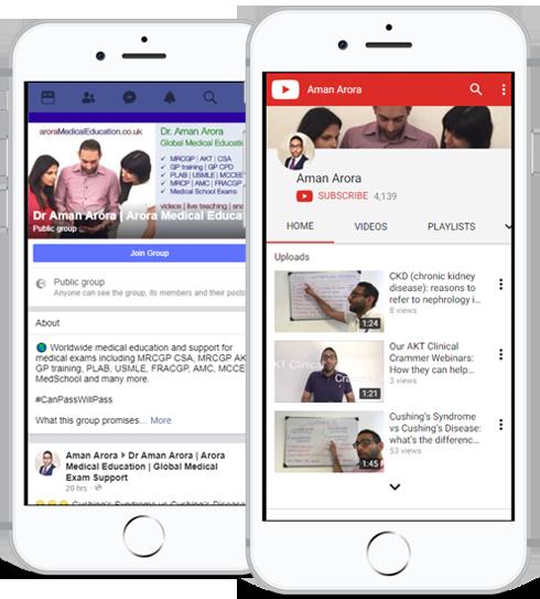 Arora Medical Education Social Media on Mobile