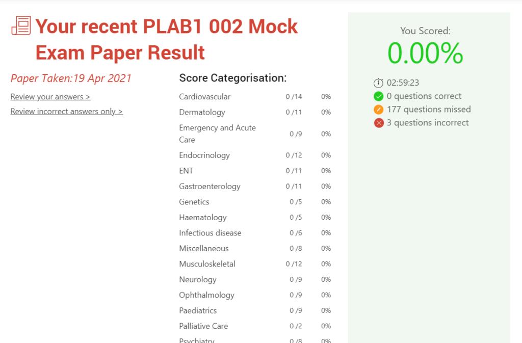 PLAB 1 result summary - MRCGP CSA, AKT and PLAB Exam Courses and Online Webinars - Arora Medical Education