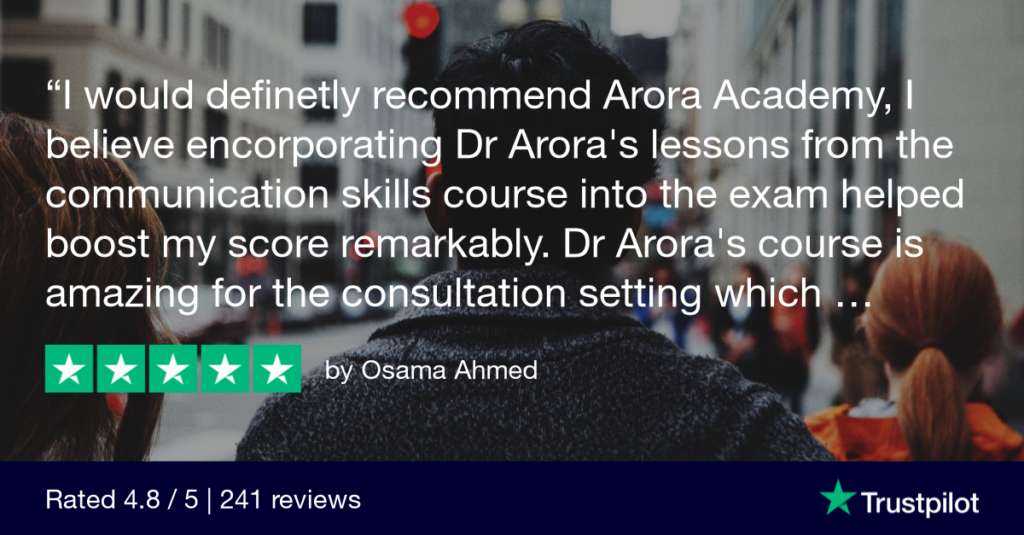 Trustpilot Review Osama Ahmed - MRCGP CSA, AKT and PLAB Exam Courses and Online Webinars - Arora Medical Education