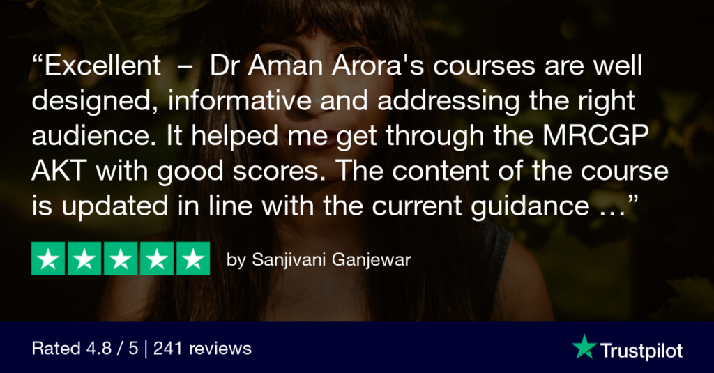 Trustpilot Review Sanjivani Ganjewar 4 - MRCGP CSA, AKT and PLAB Exam Courses and Online Webinars - Arora Medical Education