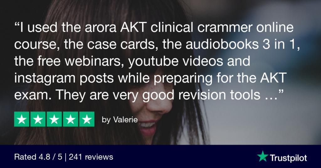 Trustpilot Review Valerie - MRCGP CSA, AKT and PLAB Exam Courses and Online Webinars - Arora Medical Education