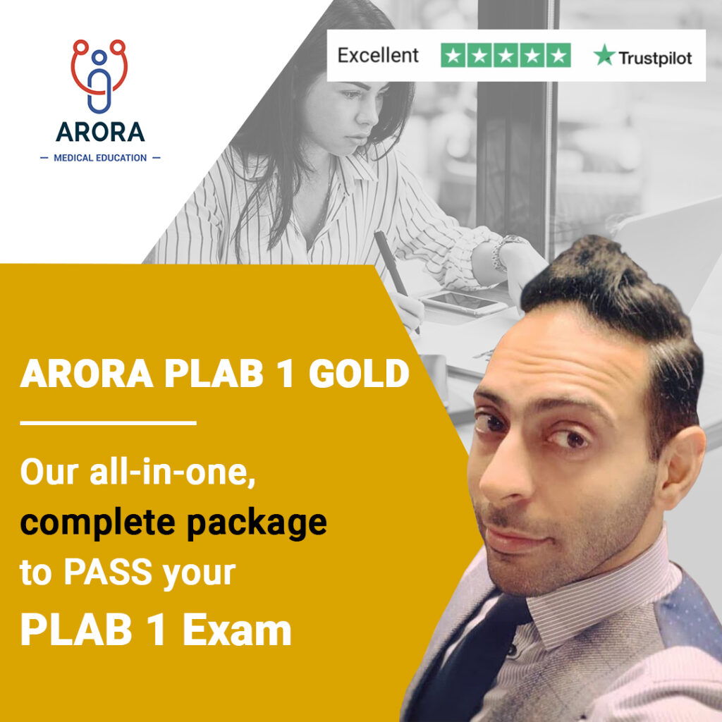 gold PLAB1 - MRCGP CSA, AKT and PLAB Exam Courses and Online Webinars - Arora Medical Education
