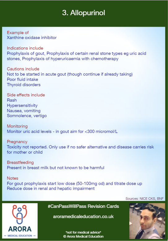 Pharmacology Allopurinol - MRCGP CSA, AKT and PLAB Exam Courses and Online Webinars - Arora Medical Education