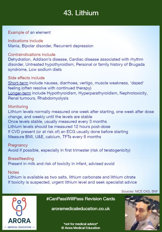 Pharmacology Lithium - MRCGP CSA, AKT and PLAB Exam Courses and Online Webinars - Arora Medical Education