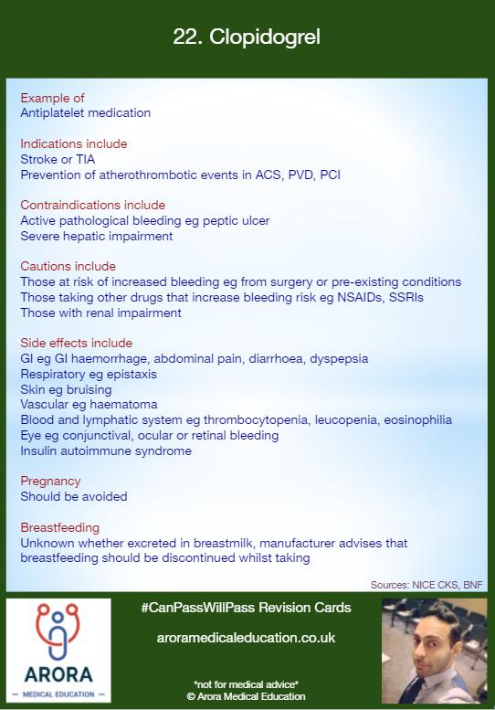 Pharmacology Clopidogrel - MRCGP CSA, AKT and PLAB Exam Courses and Online Webinars - Arora Medical Education