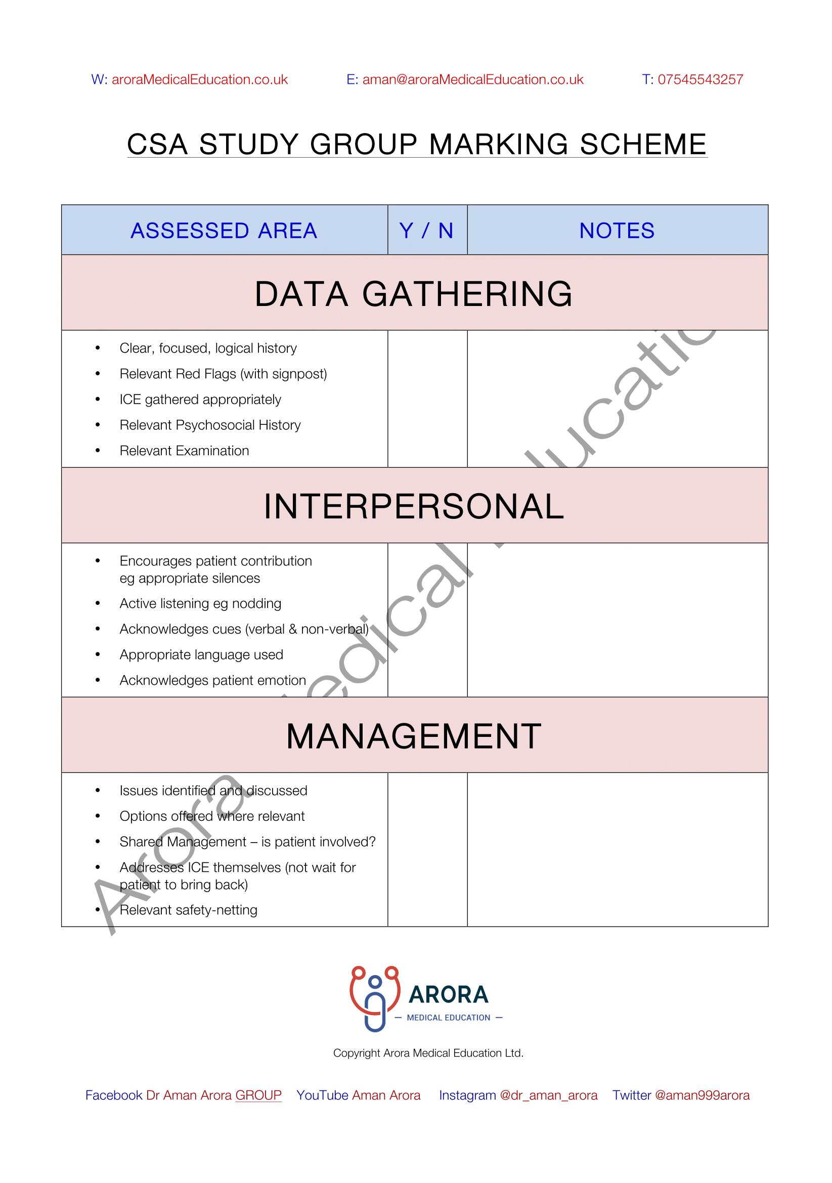 AroraMedicalEducation CSA Marking Scheme-1